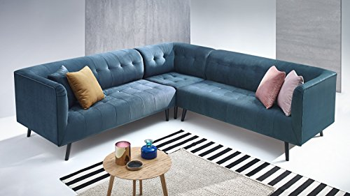Canapé d'angle 4 places Bleu Scandinave Panoramique