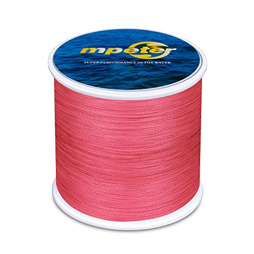 mpeter Armor Braided Fishing Line, Abrasion Resistant Braided Lines, High Sensitivity and Zero Stretch, 4 Strands to 8 Strands with Smaller Diameter (Red, 128-Yard 10LB)