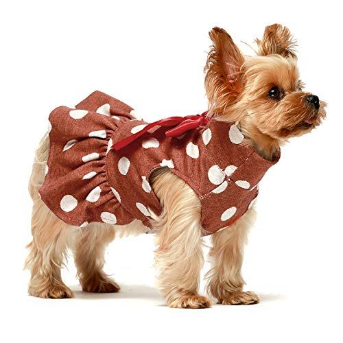 Fitwarm Haustier-Kleidung für Hunde und Welpen, Rollkragenkleid, Outfits, Geburtstagsparty, Kostüme, Rot, Größe L