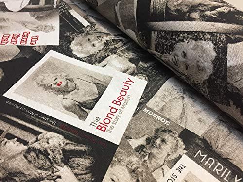 MARILYN MONROE Katoen Stof Zwart & Wit Mode Tijdschrift Textiel - Dressmaking, Gordijnen, Licht Bekleding Materiaal - 135cm breed