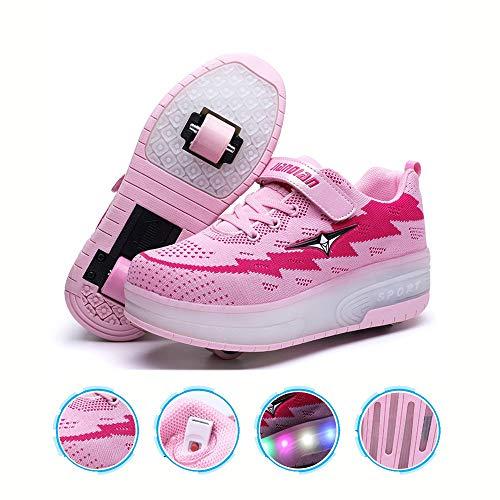 WXBYDX Kinder Skateboard Schuhe Kinderschuhe Mit Rollen LED Skate Rollen Schuhe USB Aufladbare Sportschuhe Laufschuhe Sneakers Mit 2 Räder Jungen Mädchen Unisex, Größe (29-41) pink ~ double-36