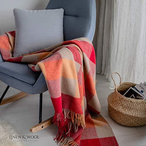 Linen & Cotton Flauschige Weiche Warme Decke Wolldecke Bunt Karierte Wohndecke Kuscheldecke Bolivia - 100% Reine Neuseeland Wolle, Beige Creme/Rot/Orange (130 x 170 cm) Sofadecke Überwurf Schurwolle
