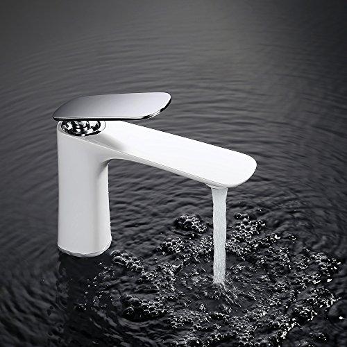 Homelody - Edle Waschtischarmatur, Einhebel, ohne Ablaufgarnitur, Keramik-Kartusche, Weiß-Chrom