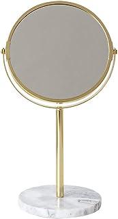 Vanity Mirror Desktop Makeup Mirror Marble Base 360 Degree Free Rotation Bracket Metal HD for Family Dressing Room