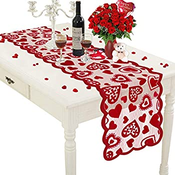 Mosoan Valentines Day Table Runner - Red 13 x 72Inch - Lace Table Runner for Wedding Party Valentines Decorations - Home Heart Table Runner