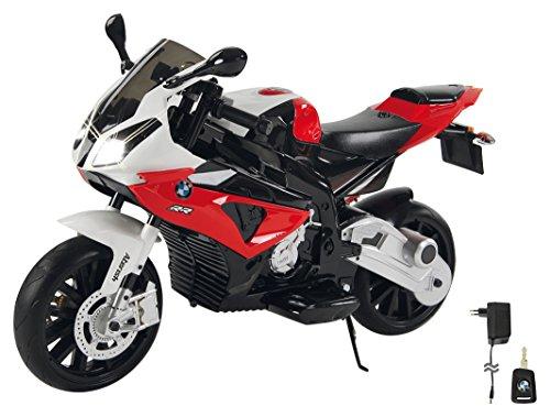 Jamara 460280 Ride-on motorfiets BMW S1000RR rood 12 V – 2 versnellingen, krachtige aandrijfmotor & accu-rijtijd tot 90 min, claxon & motorgeluid, led-koplamp, steunwielen afneembaar, zijstandaard