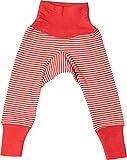 Cosilana Baby-Hose mit Bund aus kbT-Schurwolle und Seide (74-80, Rot Geringelt)