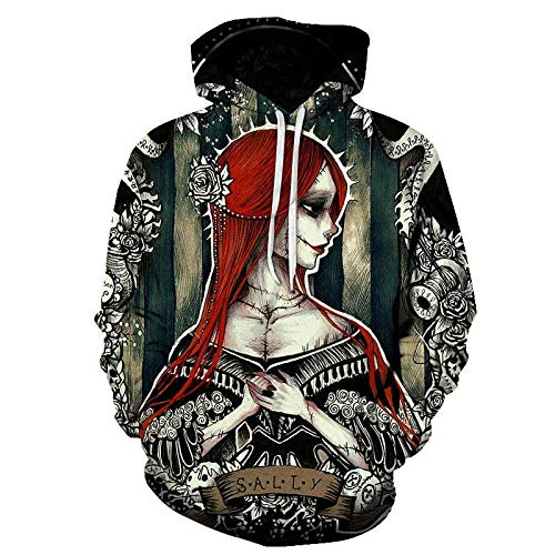 yyqx container Pulls Hoodies d'impression 3D Cheveux Roux Anime Girl Outdoor Couples Sweatshirts avec Kangaroo Pocket-Color_6XL