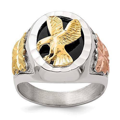 Diamond2Deal Anillo de cóctel para hombre de plata de ley 925 y oro de 12 quilates con águila envejecida para hombre