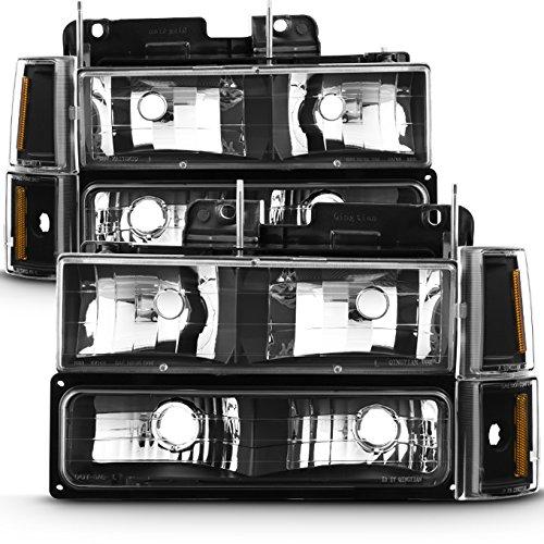 For 94-99 GMC Full Size Pickup Truck Suburban Sierra Black Bezel Headlights w/Corner + Bumper Signal Lamps