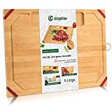 Unique Large Bamboo Cutting Board,Organic Chopping Board with Non-slip...