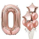 Unisun Globos numéricos 0, globos digitales grandes de oro rosa de 40 pulgadas, globos de helio de estrella con 4 globos para niñas y mujeres, fiesta de cumpleaños, aniversario de bodas
