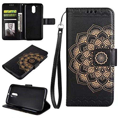 YHUISEN Moto G4 / G4 Plus caso, in rilievo mezzo fiore design [cinturino da polso] Premium PU Custodia in pelle portafogli Flip Stand caso per Motorola Moto G4 / G4 Plus ( Color : Black )