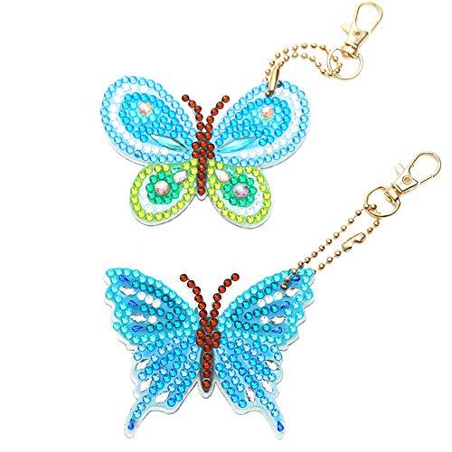 XiQingJieBaiHuoYouXianGongSi - Juego de 2 llaves de mariposa de diamante para manualidades