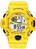 Multifunction 50M Waterproof Watch Casual Digital Watch Mens Sports Chronograph Watch + Watch Box (Yellow)