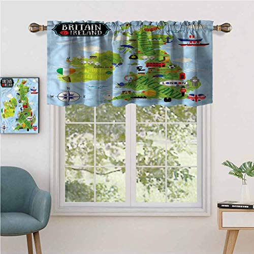 "Rod Pocket Blackout Curtain Valance Maps of Britain Ireland, Set of 1, 52""x18"" Short Straight Drape Valance for Living Room"
