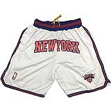 Pantalones Cortos de Baloncesto de los New York Knicks, Pantalones Cortos para fanáticos del Baloncesto con Bordado Informal para Hombres y jóvenes Pantalones Cortos Transpirables Que absorben el su