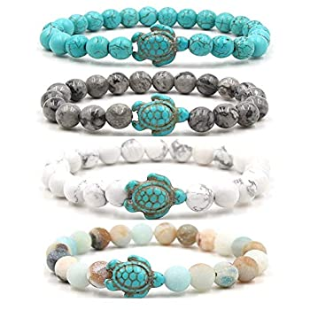 4pcs 8mm Sea Turtles Beads Bracelet Turquoise Natutal Stone Elastic Stretch Bracelet for Women Men-4pcs