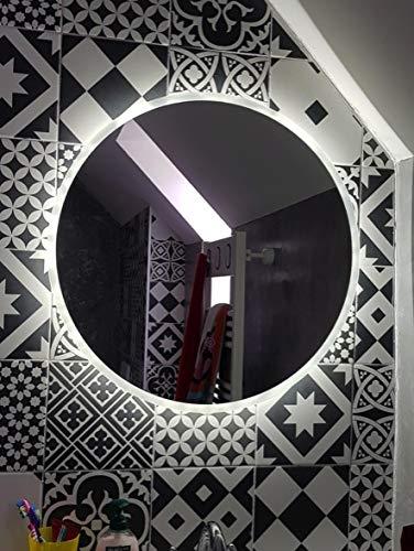 D&S Paris - Espejo de baño con iluminación LED con función antivaho, espejo redondo, diámetro 80 cm, luz blanca 6500 K