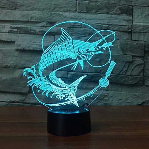 DUYAO00 - Lámpara 3D con USB, LED, luz nocturna con interruptor remoto, 7 cambios de color, lámpara interior, gancho para carpa, pez, lámpara de escritorio, lámpara para juguetes