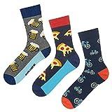 soxo Herren Bunte Socken | Größe 40-45 | 3er Pack | Baumwolle Männersocken mit Lustigen Motiven | Perfekt für Hohe & Flache Schuhe | Tolle Ergänzung für Ihre Garderobe | Bier/Pizza/Fahrrad