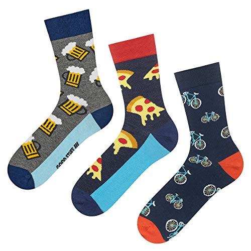 soxo Herren Bunte Socken | Größe 40-45 | 3er Pack | Baumwolle Männersocken mit Lustigen Motiven | Ideal für Hohe und Flache Schuhe | Tolle Ergänzung für Ihre Garderobe | Bier/Pizza/Fahrrad