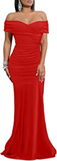 Best red long dress off shoulder Reviews