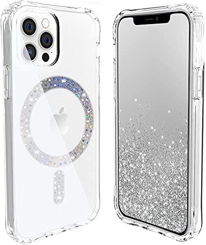 Diseñado para iPhone 12 Pro Max funda transparente compatible con Magsafe Loop, magnético integrado, magnetismo, protección contra caídas, Twinkle Stardust, YIEMAESHUM