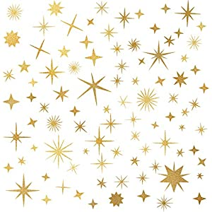 Sparkle Decals Star Decals, Nursery Wall Decal, Kids Room Decor, Star Wall Decor, Sparkle Wall Art, Baby Room Star Wall Sticker Peel&Stick Removable Decals (Vintage Gold)