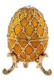 Brillibrum Joya de diseño de huevo chapado en oro con piedras preciosas esmaltadas, caja de regalo, huevo de Pascua dorado, estuche para anillos y collares (amarillo, XL)