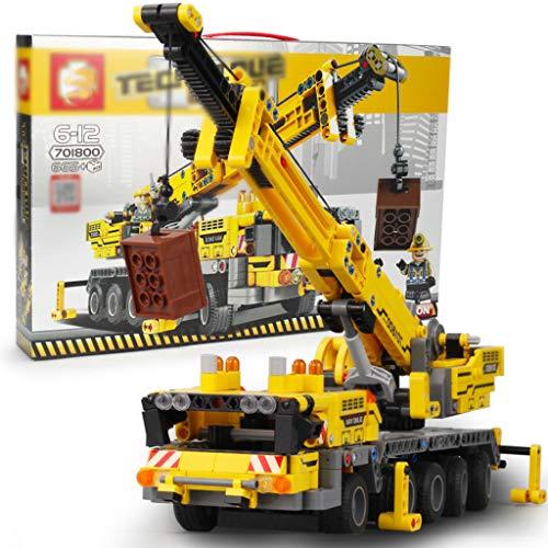 665PC Kit Construcción Modelo Camión Grúa Juguetes Bricolaje, Pan-Tilt Se Puede Girar 360 °, Regalos Cumpleaños Creativos para Niños Y Adultos