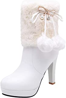 ELEEMEE Women Bow High Heel Platform Winter Boots
