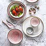 WHWH Creative Ceramic Dishes, Simple Phnom Penh Western Dishes, Ceramic Tableware-Pink 7.5 Inch Deep Plate