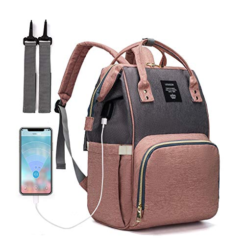 Diaper Bag Backpack, LEQUEEN Waterproof Stylish Multifunction Large Capacity Travel Back Pack Maternity Baby Nappy Changing Bags with USB Charging Port (Gray-Pink)