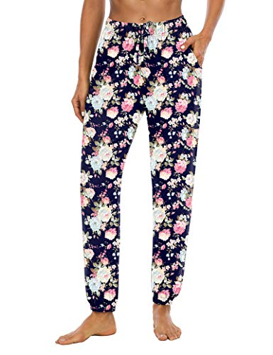 Sarin Mathews Womens Joggers Yoga Sweatpants Loose Comfy Workout Drawstring Lounge Pants for Women with Pockets Floral Navy XL