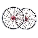 MTB Bike Wheelset 26 Inch, Double Wall Aluminum Alloy Sealed Bearings Disc Brake/V Brake 32 Hole 7/8/9/10 Speed Cycling Wheel (Color : Red)