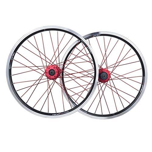 MTB Ruedas de Bicicleta de 26 Pulgadas, Pared Doble Aluminio Rodamientos Sellados Freno de Disco/Freno En V 32 Hoyos 7/8/9/10 Velocidad (Color : Rojo)
