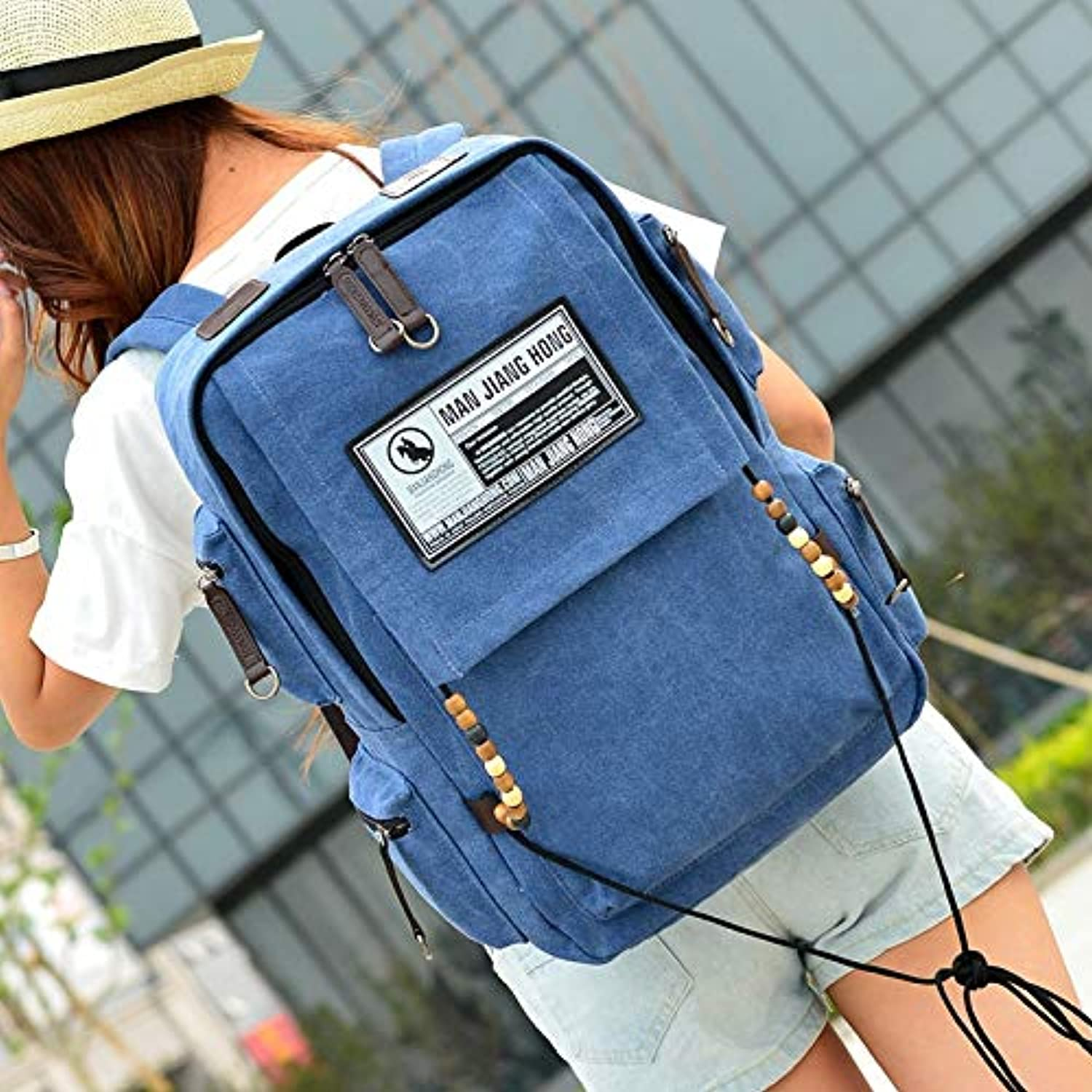 QingToo Casual backpack canvas bag male computer bag travel outdoor leisure bag, bluee