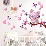 R00076 Stickers Muraux Chat Cœurs Papillons Décoration Murale Chambre D'enfants Maternelle