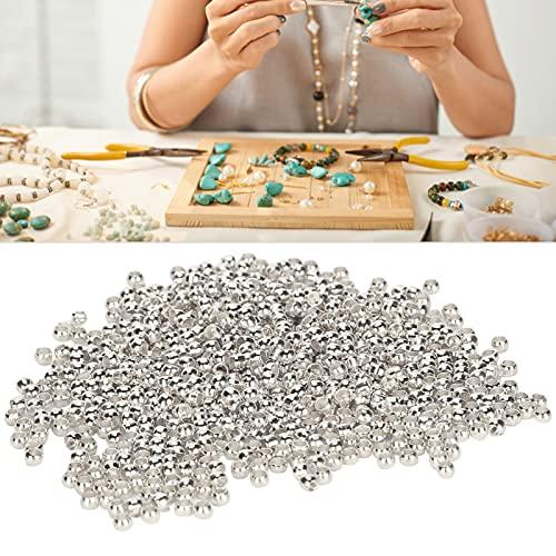 Wosune Cuentas espaciadoras Redondas, Cuentas de tapón para Bricolaje, Cuentas de engarzado de 500 Piezas, fáciles de Usar para Collar, Pulsera, Bricolaje(Silver)