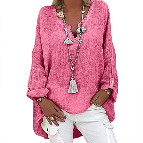 Camisa de lino para mujer de gran tamaño, blusa de lino, manga larga, cuello en V, camiseta larga, blusa de lino, túnica, suelta, para verano, tiempo libre B-rosa. XL