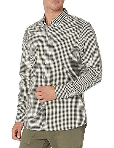 Amazon Brand - Goodthreads Mens Standard-Fit Long-Sleeve Gingham Plaid Poplin Shirt, Green Depths, Medium