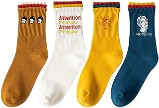 calcetín, calcetín de Hombre Cuatro Pares de la Primavera y Verano del Desgaste Todo-fósforo Largos de Las Mujeres de Talle Alto Estudiante Mujer (Color : A)