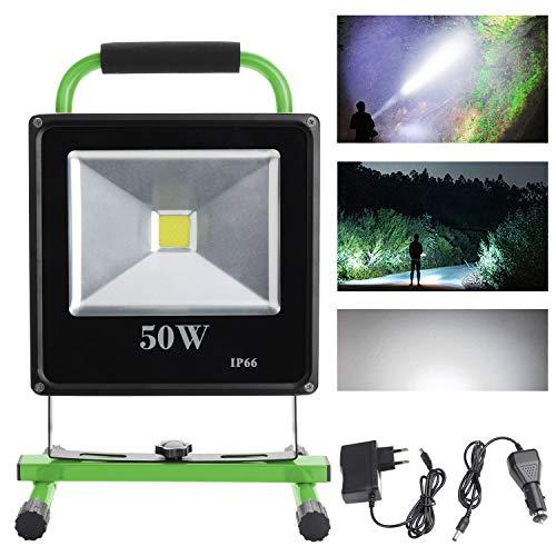 fsders VINGO50W LED Strahler IP65 Grün Arbeitsleuchte Baustrahler Akku Fluter Handlampe, 50w Kaltweiß