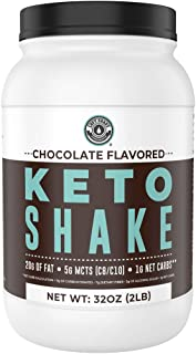 Keto Meal Replacement Shakes [Chocolate, 2lbs], Low Carb Keto Protein Shake Mix   MCT Powder, Grass Fed Hydrolyzed Collage...