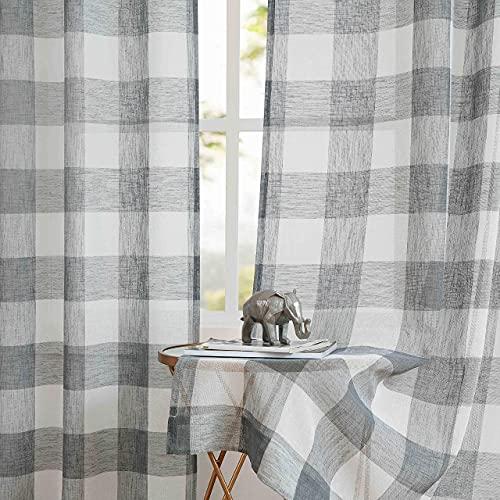 Amzdecor Grey Buffalo Plaid Curtains Linen Sheer Panels Buffalo Check Plaid Rod Pocket Rustic Window Treatment Sets for Living Room Bedroom,2 Panels, 40''x84'', Gray