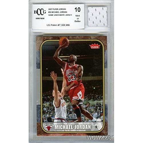 07a99a130e314f 2007 Fleer Michael Jordan with Piece of Authentic Michael Jordan Chicago  Bulls Game Used Home Jersey
