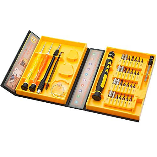 HPMAISON 38 in 1 Precision Screwdriver Set - Repair Tools Kit Fixing iPhone Laptop Smartphone MacBook Xbox Watches Glasses with Yellow Case
