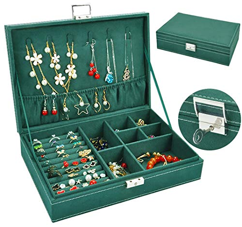Jewelry Box for Women, QBeel Single Layer 25 Compartments Necklace Jewelry Organizer with Lock Travel Jewelry Display Holder for Earrings Bracelets Rings Necklace Watches - Green