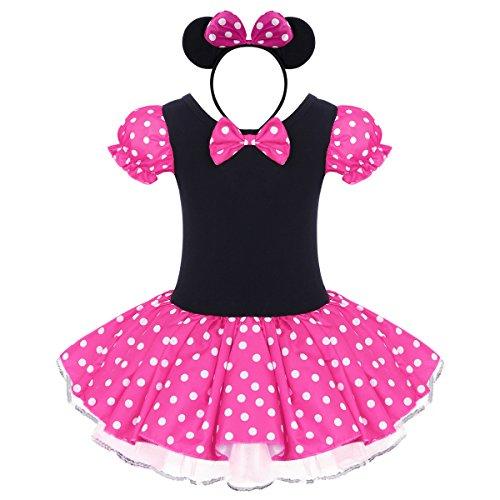 IBTOM CASTLE Neugeborene Baby Minnie Kostüm Prinzessin Mädchen Säuglings Kleinkind Tüll Kleider Festlich Polka Dots Trikot Tanzkleider Weihnachten Cosplay Kleid mit Maus Ohren Rosa 3-4 Jahre